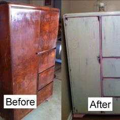 Wardrobe done in ASCP in Old White over a pink I made mixing Emperor's Silk and Old White Then waxed with clear wax