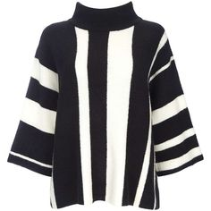 Petite Mono Stripe Funnel Neck Jumper ($50) ❤ liked on Polyvore featuring tops, sweaters, black e petite