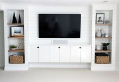 DIY Shiplapped Built-In Entertainment Center DIY Built-ins & Faux Shiplap - Benjamin Moore Simply White (soft and subtly creamy white).DIY Built-ins & Faux Shiplap - Benjamin Moore Simply White (soft and subtly creamy white). Room, Tv Wall Unit, Built In Tv Wall Unit, Family Room, Home, Diy Shiplap, Built In Entertainment Center, Tv Room, Ikea Built In