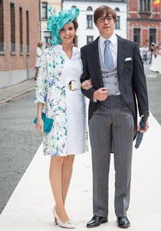 Royal Weddings - Prince Louis of Luxembourg and his wife, Princess Tess, attend wedding of Princess Alix de Ligne and Count Guillaume de Dampierre