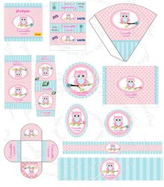 festa coruja azul e rosa Party Kit, Party Packs, Baby Shower Themes, Baby Shower Decorations, Favor Boxes, Animal Party, Party Printables, Wraps, Gift Wrapping