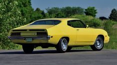 One-of-three prototype Ford Torino King Cobra once served as Bud Moore& runabout Ford Torino, 70s Muscle Cars, American Muscle Cars, Yellow Car, Mellow Yellow, Detroit, Automobile, Sonic, King Cobra