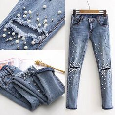 Women Fashion Destroyed Ripped pearled Slim Denim Pants Embroidered Flares Jeans Trousers Denim Long Hole -in Jeans from Women's Clothing & Accessories on Aliexpress.com | Alibaba Group