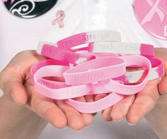 Show your support for breast cancer awareness with wearables! From bracelets and bands to pins and necklaces, find pink ribbon products for your pink ribbon events.