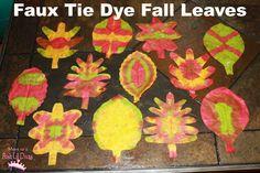 Mom to 2 Posh Lil Divas: Faux Tie Dye Fall Leaves using Bingo Daubers for color