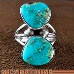 Native American Indian Jewelry Genuine Sterling Silver Turquoise Ring