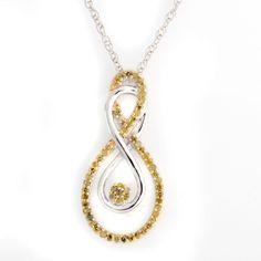 Platinum Plated Yellow Diamond Infinity Pendant W/ 18'' Chain Necklace Q193 #Affinityjewelry #InifinityPendant