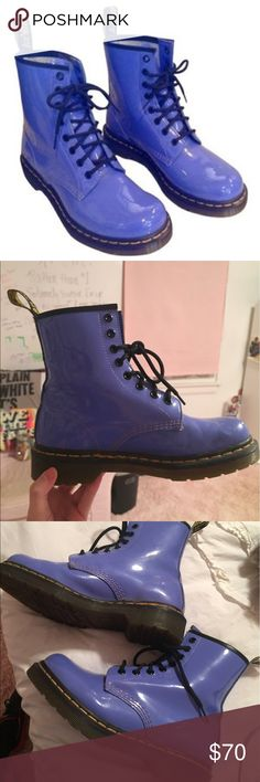 Dr. Marten's periwinkle patent leather boots These boots are so fun and vibrant!! Great used condition Dr. Martens Shoes Combat & Moto Boots