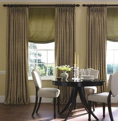 Pinch Pleat Drapes in Raw Silk add just the right touch of texture to your window. Shown in color Safari. | The Shade Store