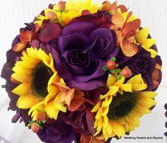 TuSCaN WeDDiNG SuNFLoWeRS PuRPLe RoSeS 16 by VanCaronCollection, $345.00