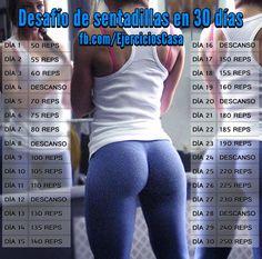 Tonifica tus #glúteos con el desafío de 250 #sentadillas en 30 días. Tu trasero lo va a notar!