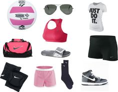 Volleyball outfit....I've never seen a volleyball player with high-tops before