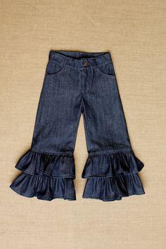 Denim Double Ruffle Jeans