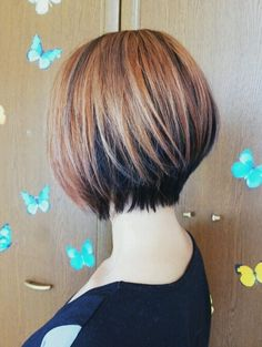 Love the dark peeking out underneath! Maybe shoulder length though and angled. 2014 Short Bob Haircuts with Color