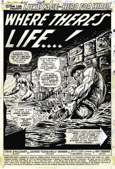 George Tuska and Billy Graham - Hero for Hire Splash Page 1 original Art (Marvel, Black And White Comics, Black Comics, Black White Art, Luke Cage Marvel, Heroes For Hire, Billy Graham, Splash Page, Marvel Comic Character, Crime Fiction
