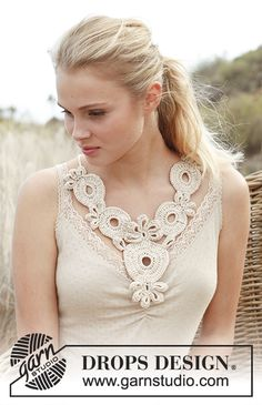 "Cassiopeia / DROPS 146-14 - Crochet DROPS necklace in ""Cotton Viscose"". - Free pattern by DROPS Design"