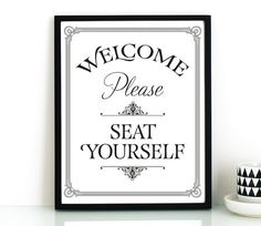 Funny bathroom wall art PRINTABLE,Please seat yourself sign,bathroom…