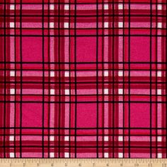 Sweater Knit Double Plaid Hot Pink from @fabricdotcom  This lightweight sweater knit fabric has a soft hand, fluid drape, a brushed surface and a 50% mechanical stretch. It is perfect for cardigans, layering sweaters, scarves and wraps.