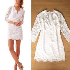 $348 Lilly Pulitzer Resort White Meryl dress Lilly Pulitzer gorgeous Resort White Meryl dress Flowers bloom across the diamond lace overlaying an impeccably feminine shift dress. Trimmed with eyelash-edged scalloping. Hidden back-zip closure. Lined. Cotton and nylon blend. Size 6. Pristine Condition. I bought with the tag like it shows in the last picture, I did wear it once. The price is according with the quality and condition of this dress. No low offers will be accepted. ($115 in ️ay ️)…