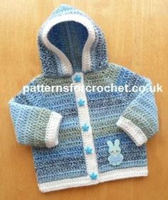 pfc236-Hooded jkt baby crochet pattern | Craftsy