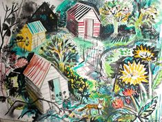 'Allotment' by Mark Hearld, 2015 (collage) Fields In Arts, Glasgow School Of Art, Homemade Art, Royal College Of Art, Inspirational Artwork, Sketchbook Inspiration, Naive Art, Illustration Art, Illustrations
