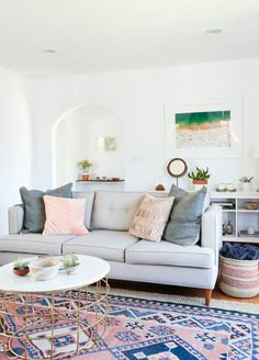 Like the couch and that the bookshelf is half behind on the wall