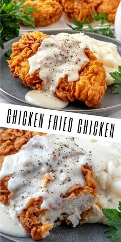 Easy and delicious this Chicken Fried Chicken is a quick and flavorful dinnertime recipe that brings the whole family to the table, with minimal ingredients it's a simple and comforting meal. Perfect in small pieces as an appetizer and party food too! Fried Chicken Recipes, Chicken Fried Chicken, Fried Chicken Breast, Chicken Gravy, Roasted Chicken, Simple Fried Chicken Recipe, Meals With Chicken Breast, Chicken Menu, Chicken Recepies
