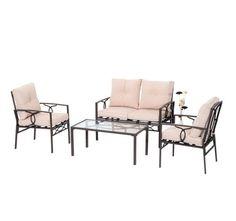Best Outdoor Conversation Set 4 Piece Patio Furniture Garden Cushioned Chairs #1