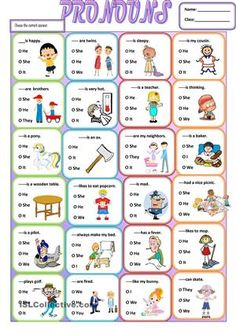 A simple grammar worksheet about the use of subjective pronouns.It is easy and simple for young learners or struggling students . It can be given at the end of your lesson as a wrap up. - ESL worksheets