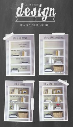 Shelf styling tips from Caitlin Wilson Design Diy Interior, Interior Design Tips, Home Design, Interior Design Living Room, Interior Decorating Tips, Interior Lighting, Luxury Interior, Design Ideas, Styling Bookshelves
