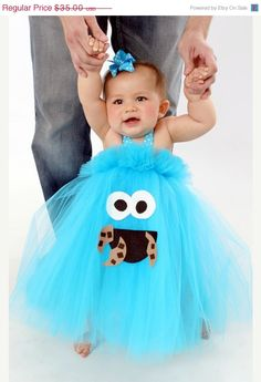 ON SALE TODAY Cookie Monster Inspired Tutu Dress Costume for dress up or playtime or birthday parties Choose your character Elmo Oscar Abby on Etsy, $31.50