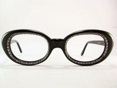 Vintage 50s Frame Oval Rhinestones Eyeglasses Sunglasses Glasses New
