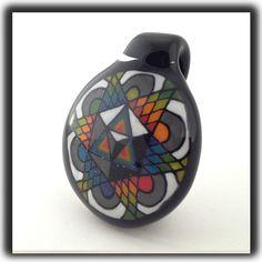 Heady Hunter Borosilicate Glass Art Gallery | Tony Fusco Geometric Disc Flip Pendant (A)