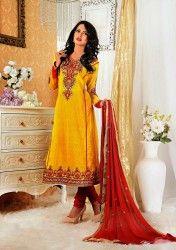 Designer Yellow Colour Pure Cotton Salwar Kameez at $33.64 Only
