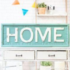 """Letrero metálico """"Home"""" - Color azul - Letreros - Decoración"""