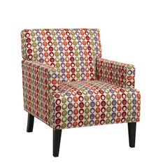 Found it at Wayfair - Carrington Fabric Arm Chair - this one is a bit bigger, for larger people like dad.  (and a bit more $$ but still reasonable).  I like these colors.  Definitely would work for mid-century although the colors are not exactly the lamps.