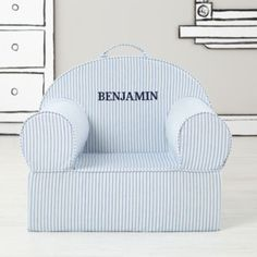 ***Purchased 2014***   Executive Nod Chair in Blue Tick Stripe with Personalization (Crawford)  He has this!