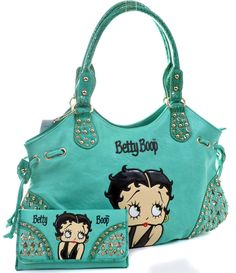 Mint Betty Boop Rhinestone Bling Wallet & Handbag Purse Set
