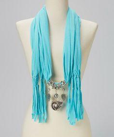 Another great find on #zulily! Aqua Heart Charm Silk-Blend Scarf by Pretty Angel #zulilyfinds