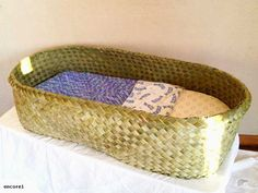 Traditional Weaving - Maori Bassinette or Wahakura. Made by the talented Eve @ www.flaxkete.co.nz
