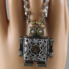 Handmade Steampunk Robot Necklace by oscarcrow on Etsy, $38.00
