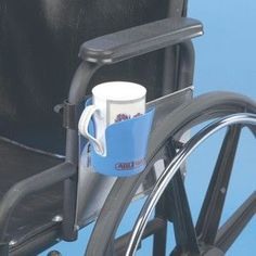 Plastic cup holder is slotted on two sides to hold a cup with handles and is accessible to left or right-handed people. It can also hold a glass, can or bottle. The rugged plastic clamp has a large ea