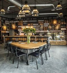 community tables & mercantile shelving & lighting