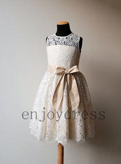 Custom Ivory Lace Flowers Girl Dresses with Champagne WaistbandKids Girl Dress Beautil pageant Kids Dress Lovely Girl Dress