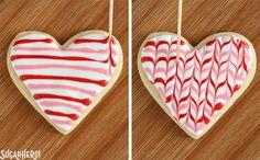 Valentine's Day Sugar Cookies, Sugar Cookie Royal Icing, Fancy Cookies, Iced Cookies, Cute Cookies, Cupcake Cookies, Cookies Et Biscuits, Cupcakes, Heart Cookies