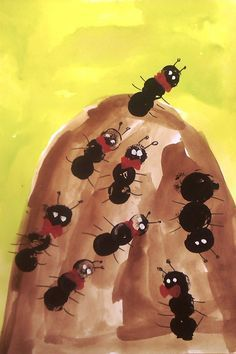 Ant Crafts, Insect Crafts, Arts And Crafts, Easy Crafts For Kids, Projects For Kids, Diy For Kids, Kids Fun, Kindergarten Art, Preschool Art
