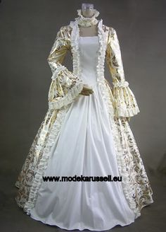 Langarm Brautkleid Ballkleid in Colonial Style Golden - Weiß