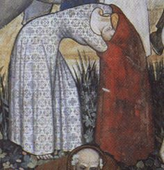 That's what I look like when pulling my overdress off.  I think this is a kirtle rather than a chemise revealed, but the fabric is really beautiful!  A woman undressing before entering the fountain of youth. From a fresco, circa 1411, in the great hall of the Castello di Manta.