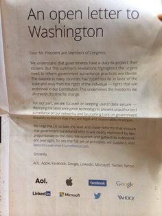 Apple, Google, Microsoft, LinkedIn, Yahoo, Facebook, Twitter, and Aol put this full page spread about government surveillance in the New York Times. - Imgur