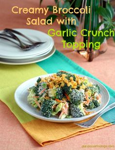 Creamy Broccoli Salad with Garlic Crunch Topper